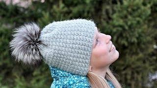 Простая теплая шапка. Вязание крючком. Simple warm hat. Crochet