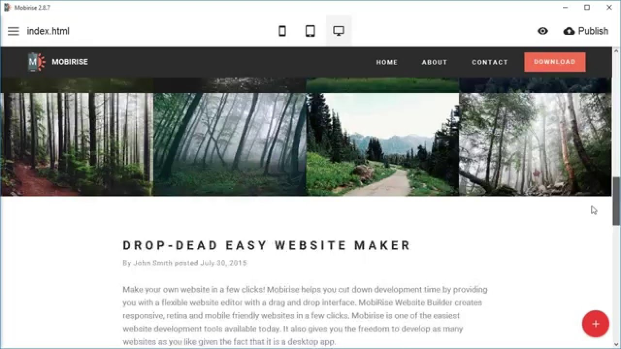 Creating a simple website - Mobirise Site Builder Software ...