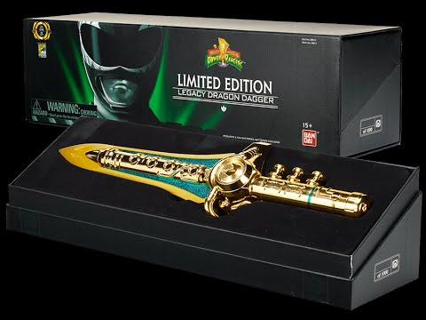 2014 SDCC: 24k green Power Ranger LEGACY DRAGON DAGGER only 1000 made! DIECAST & PLASTIC