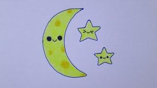 Cómo dibujar una luna y estrellas kawaii