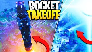 INSANE ROCKET TAKEOFF IN FORTNITE! - Watching The Rocket LIVE! (RIP Moisty Mire?)