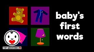 Baby's First Words   Bedtime   Simple learning video for babies and toddlers