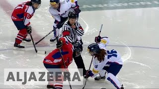 Korean ice hockey players face off amid political tension