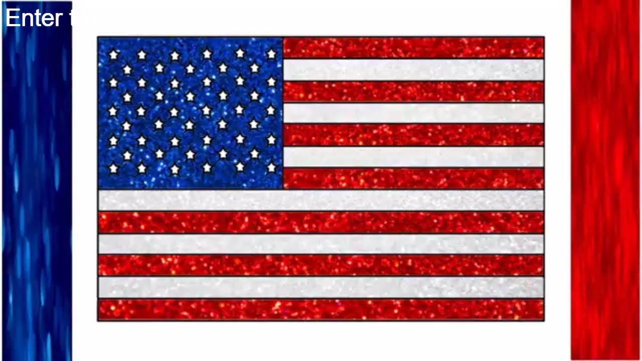 Draw USA Flag Glitter Colors United States of America flag American flag Glitter Color for