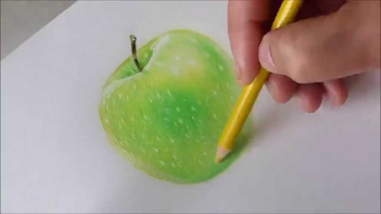 Drawing a green apple