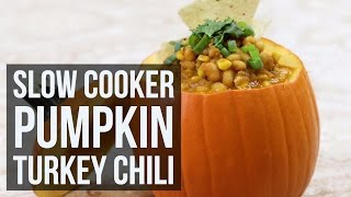 Slow Cooker Pumpkin Turkey Chili | Easy Fall Crockpot Recipe by Forkly