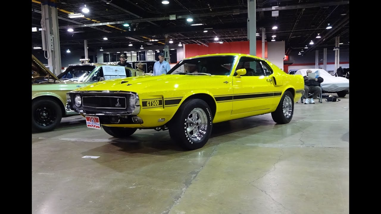 1969 ford mustang shelby gt500 in grabber yellow engine sound on my car story with lou costabile