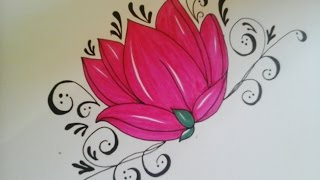 how to draw flowers for beginners - easy version tattoo flowers(, 2015-08-23T09:45:44.000Z)