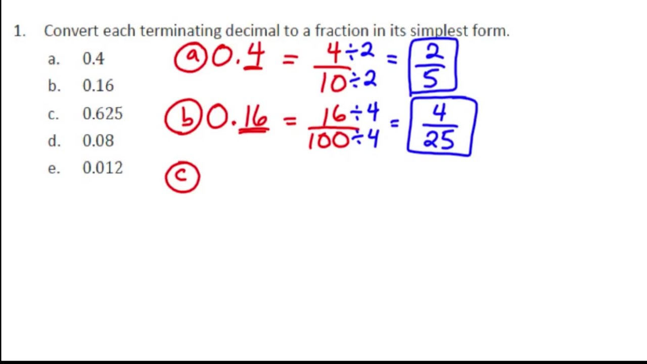 medium resolution of Converting Between Fractions and Decimals Using Equivalent Fractions  (examples