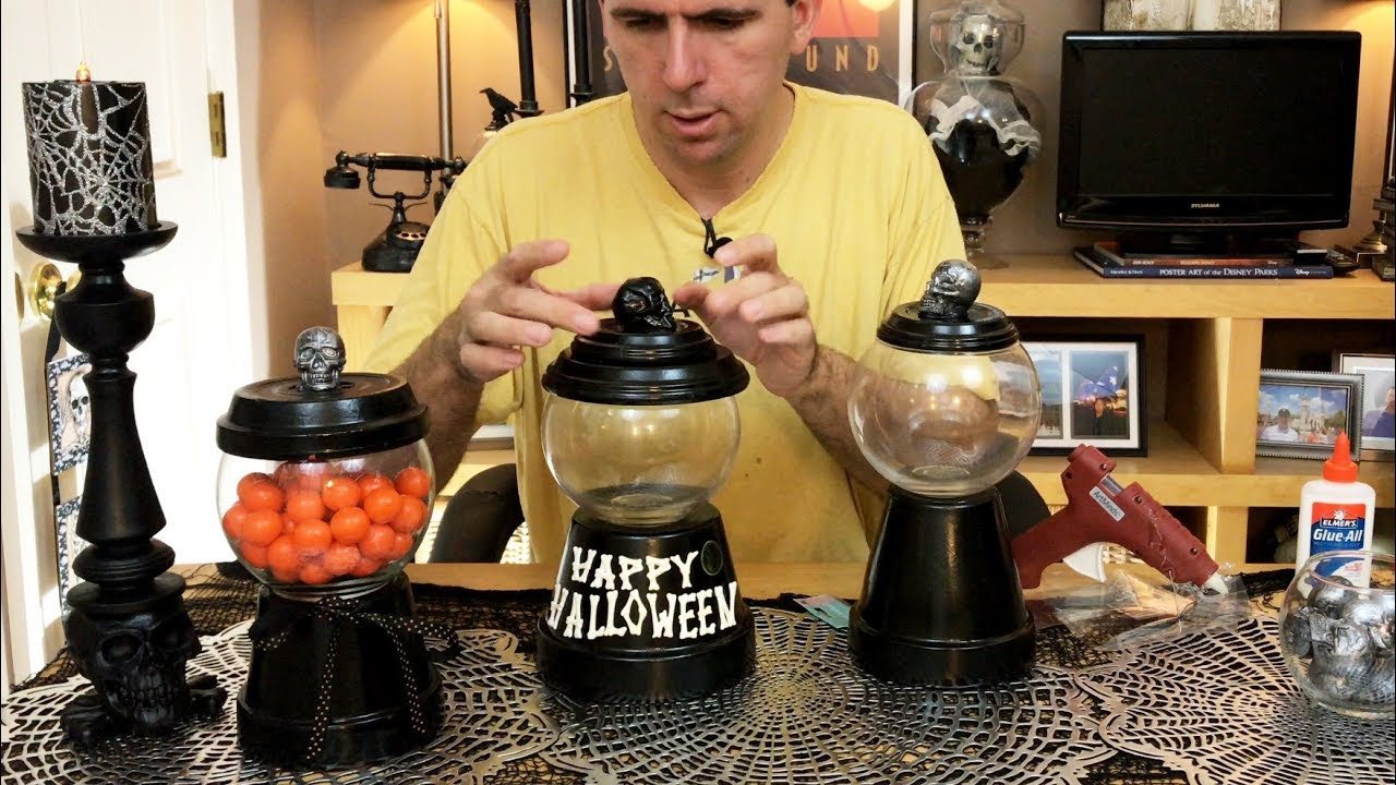 "halloween how-to: diy ""gumball machine"" candy holder tutorial. a"