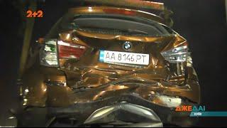 На Дарницькому мосту авто влетіло в позашляховик жінки, яка чомусь різко зупинилася