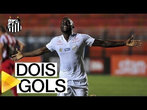 Joel marca seus primeiros gols com a camisa do Santos FC