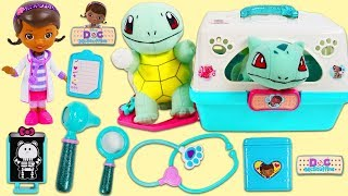 Pokemon Squirtle Visits Doc McStuffins Pet Vet after Epic Duel!