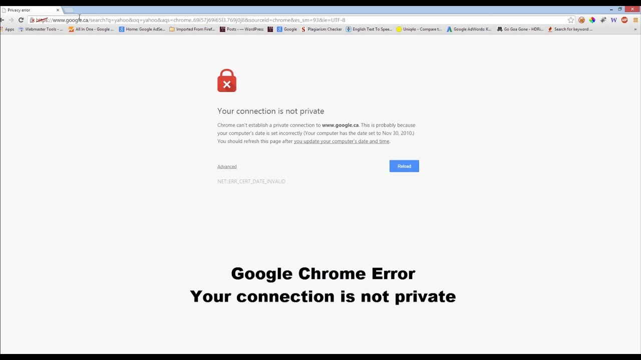 google error connection is not private