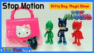 (PJ Masks) Funny Stop Motion mixed Video - Kitty Bag Magic Show and Learn Colors(키티가방에서 파자마삼총사 나오기)