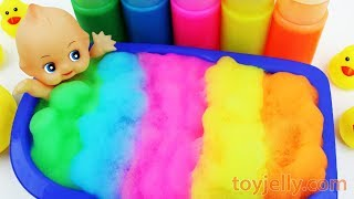 Baby Doll Color Foam Bubble Bath Time Play Suprise Egg Toys Learn Colors Baby Finger Song for Kids
