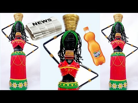 Newspaper doll with Plastic can | Art from Waste