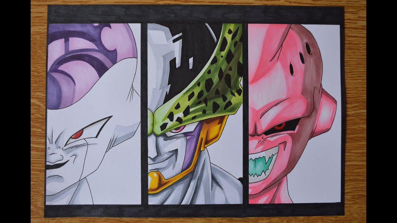 drawing frieza perfect cell and kid buu vilains of