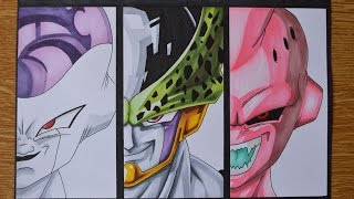 Drawing Frieza, Perfect Cell and Kid Buu - Vilains of DragonBall Z