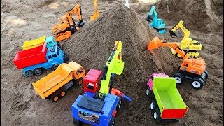 Excavator with Truck Working in Sand Mountain   Car Toy For Kids.