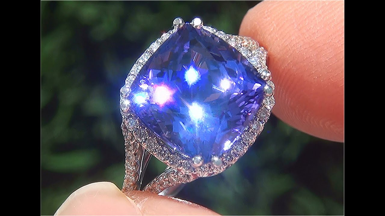 gold i diamond ring white dark diamonds tanzanite and certifi gia