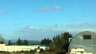 Air Ambulance landing at site of explosion & fire