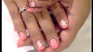 Manicure con flor - como hacer un flor en uñas - tuto nail art flower - amy estilo - acamye