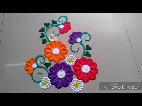 Use spoon to make BEAUTIFUL & AMAZING FLOWER Rangoli design by Jyoti RAUT rangoli