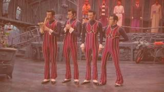 We Are Number One but the backing instruments are replaced with chillout drum and bass