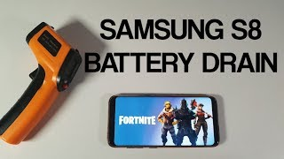 Samsung S8 Fortnite Gameplay with Battery drain test/Screen on time/SOT/Killer heat test/temps