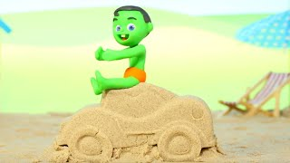 Little Boy Built A Car With Sand At The Beach ❤ Cartoons For Kids