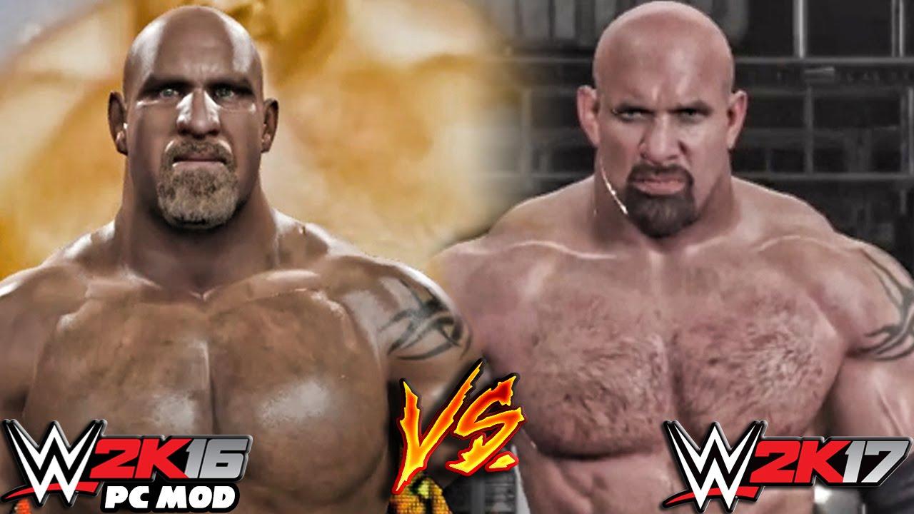 WWE 2K17 vs WWE 2K16 PC Mods - Goldberg Entrance Comparison