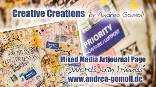 """【Artjournal Page】 """"Words with Friends"""" - inspired by The Documented Life Project"""