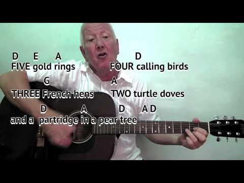 12 Days of Christmas (D) Christmas carol - easy chord guitar lesson with on-screen chords and lyrics