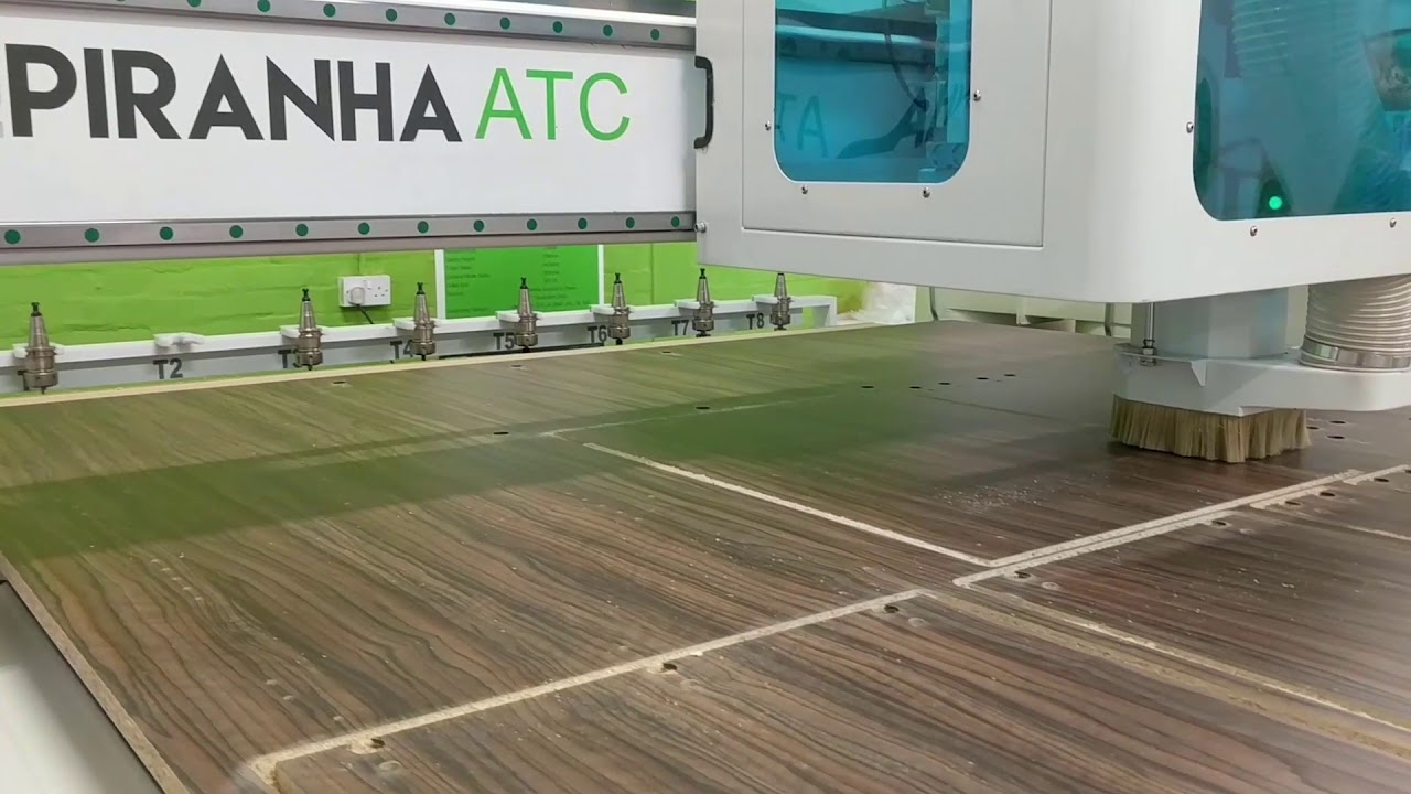 Piranha ATC CNC Producing Kitchen Cabinets in dark wood finish - YouTube