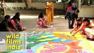 Rangoli making on the theme of 'Save girl child'