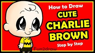 How to Draw Charlie Brown The Peanuts Movie Cute and Easy Step by Step - Cartoon Drawings Fun2draw