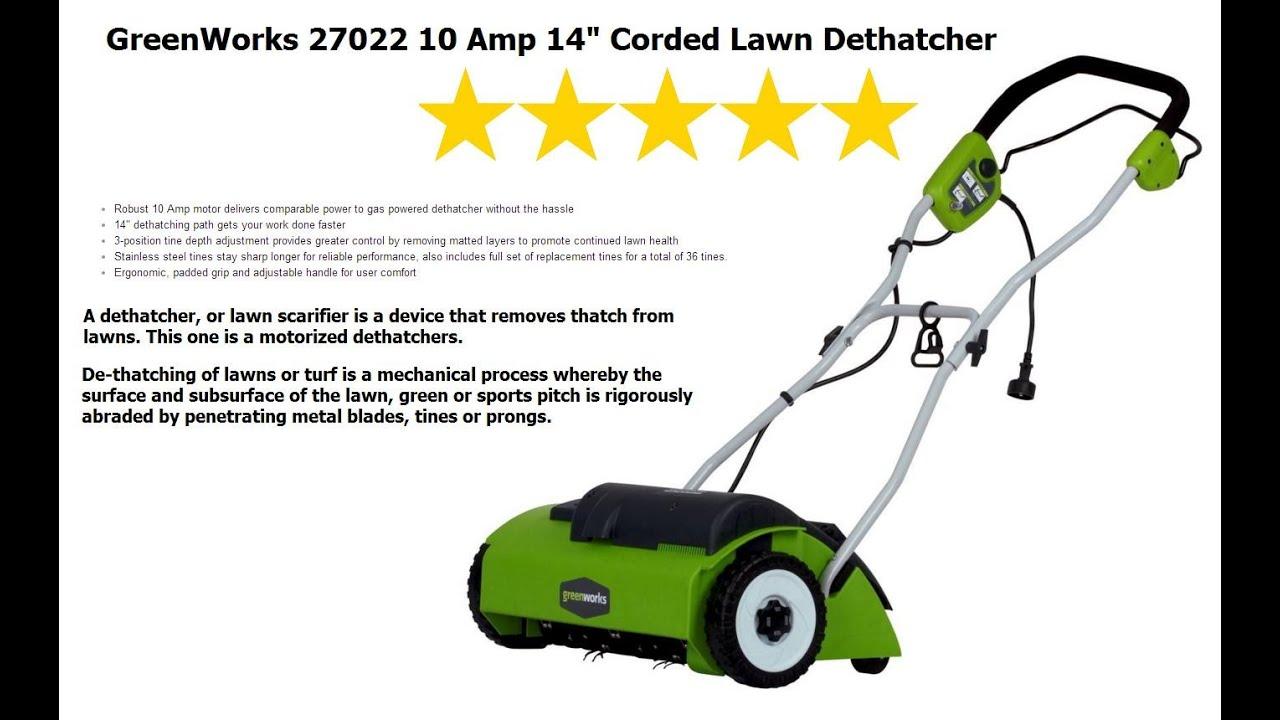 Electric Lawn Dethatcher Greenworks 27022