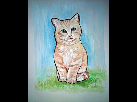 Colourfull Cat Painting Art on Chart for School Kids
