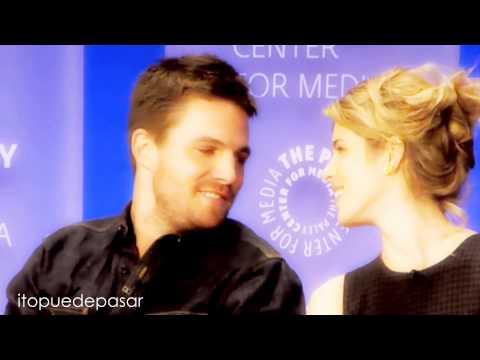 Stephen Amell and Emily Bett Rickards  slow motion, paley fest