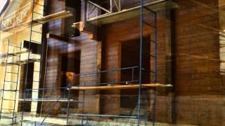 Отделка деревянного дома.(Новый объект. Покраска стен деревянного дома . Изготовление и монтаж балкона. Отделка свесов крыши., 2014-11-15T17:04:50.000Z)