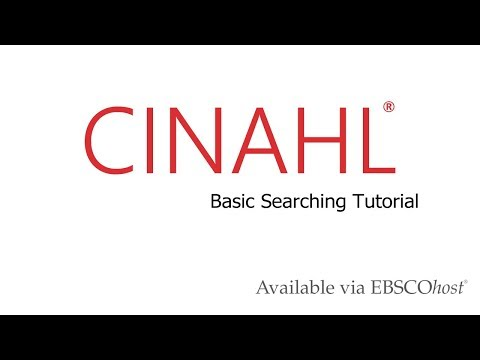 CINAHL Databases - Basic Searching Tutorial