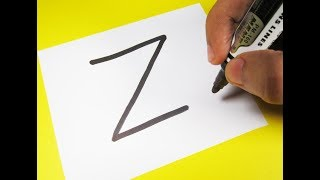 "How to turn Letter ""Z"" into a Cartoon ZEBRA ! Fun with Alphabets Drawing for kids"