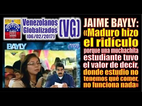 """JAIME BAYLY: """"Maduro hizo el ridículo, joven valiente le dice  'donde estudio no funciona nada'  """""""