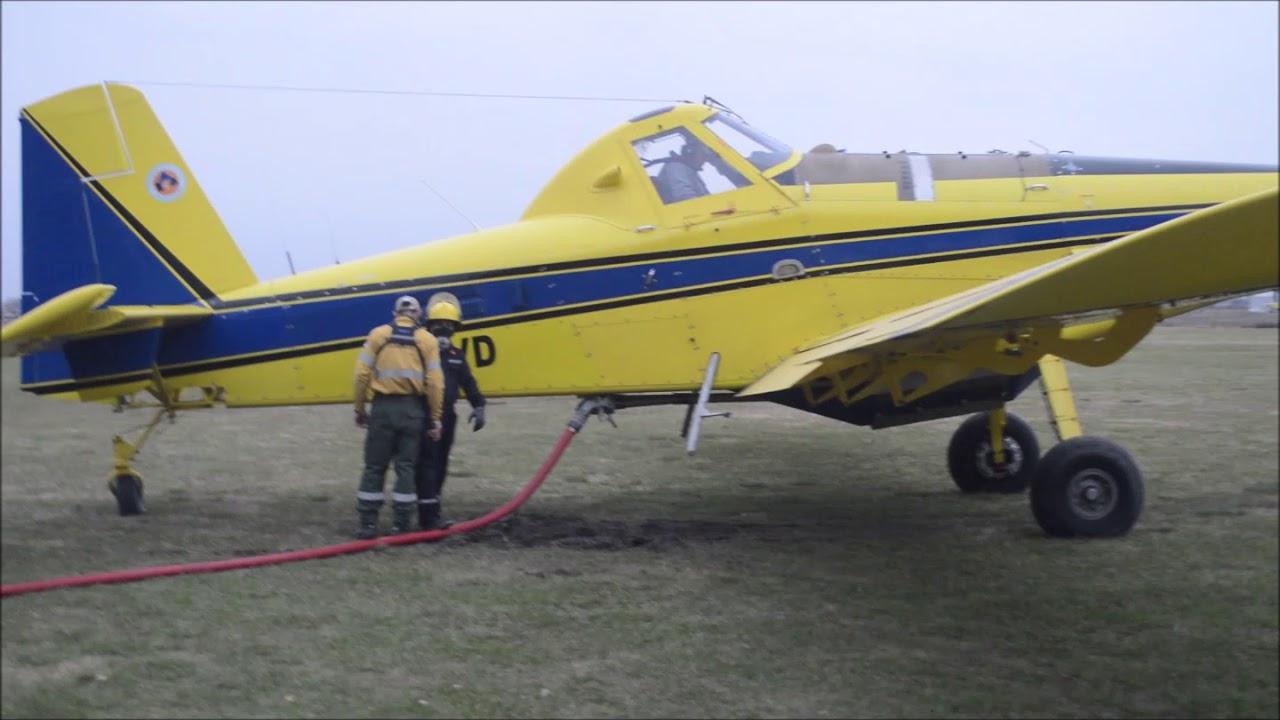 Air Tractor AT-802 LV- HVD del SNMF despegando de Alvear rumbo a las islas 17-06-2020
