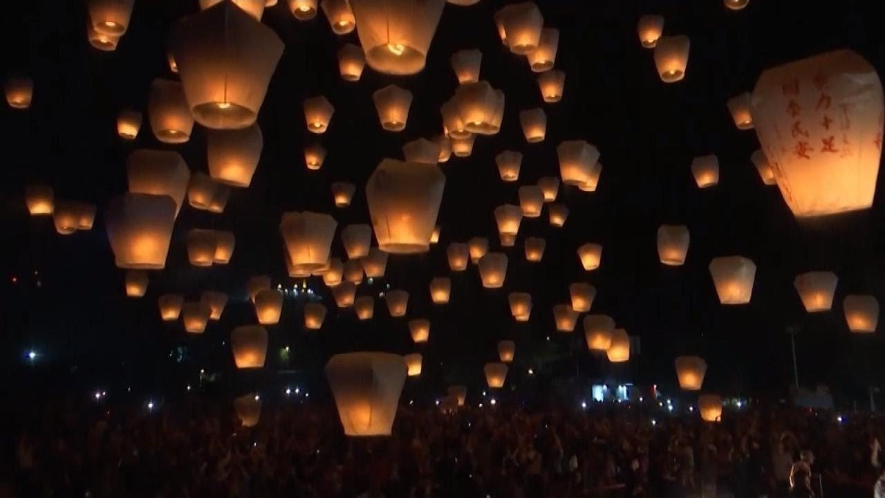 Hundreds Of Lanterns Released Into The Sky At End Lunar New Year Celebration