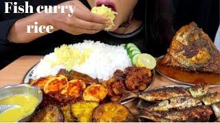 ASMR:Eating Fish curry with rice,begun bhaja,egg roast,prawnss