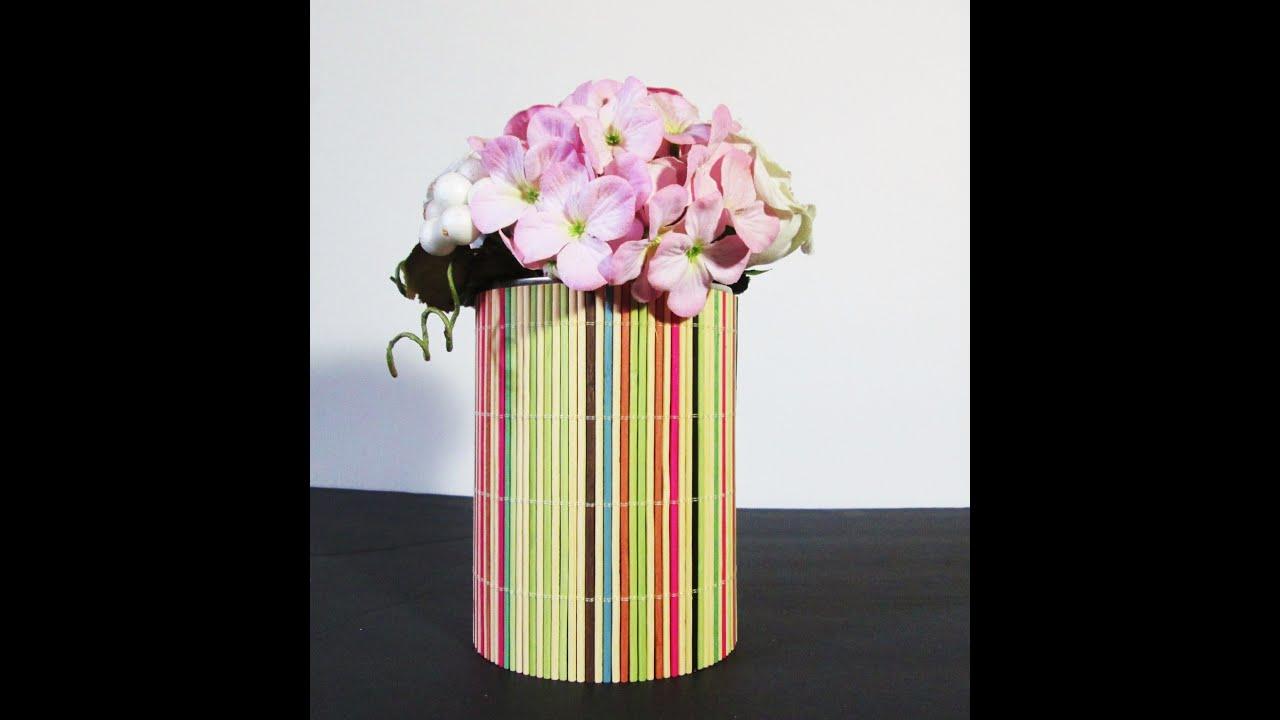 Como decorar una lata reciclada con palitos de bambu muy - Bambu para decorar ...