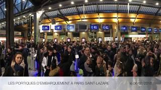 Portiques d'embarquement à Paris Saint-Lazare