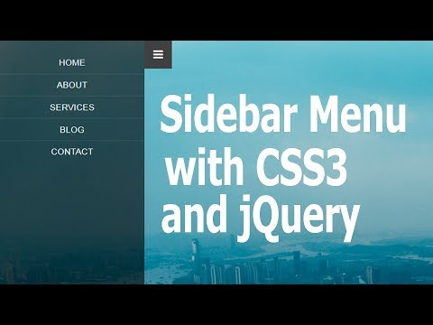 How To Create Sidebar Menu Using HTML, CSS3 And JQuery || Pure Css Tutorials